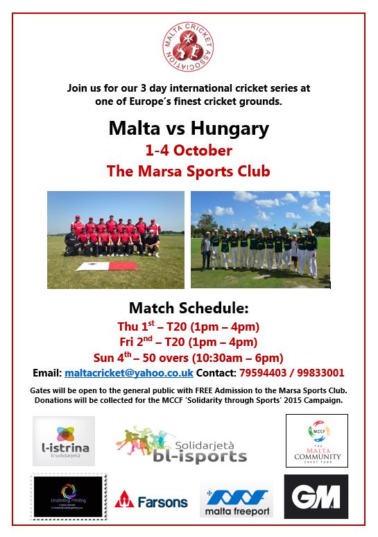Malta Cricket Association - Malta v Hungary MCCF Event (Official Brochure)