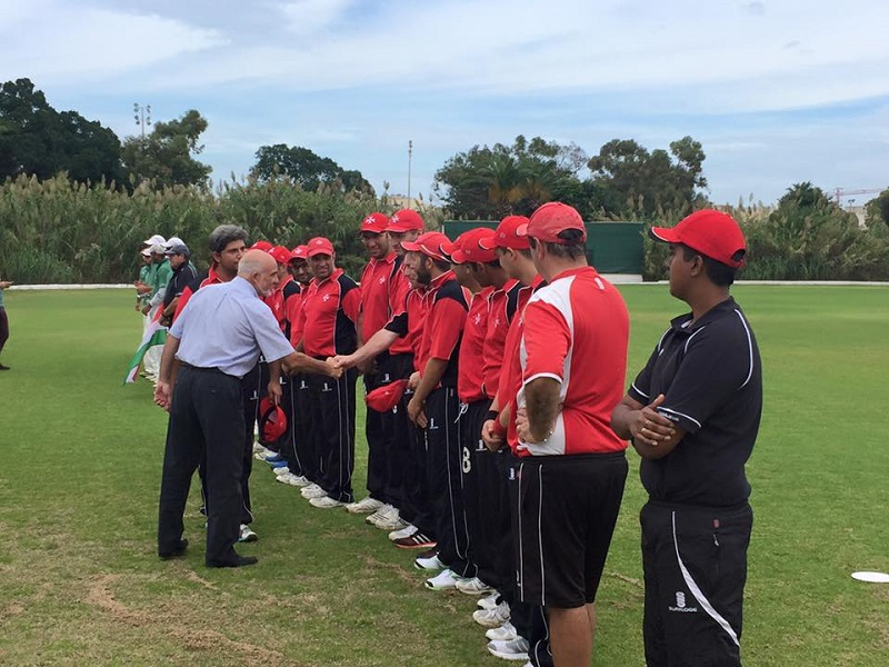 MOC President Julian Pace Bonello greets the Malta and Hungary national teams